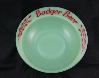 Vintage Jadeite Green Milk Glass Badger Beer Advertising Bowl 1950's Original Mid Century