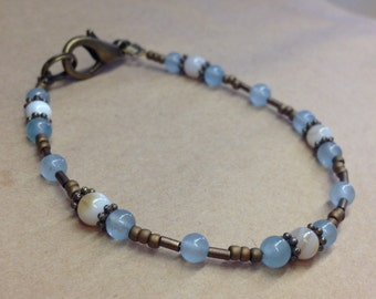 Handcrafted Aquamarine Gemstones And Mother Of Pearl Bracelet - Dainty - Free U S A Shipping