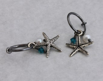 Clip hoop earrings Gunmetal clip hoops with Starfish and freshwater pearls by EarthsOpulence