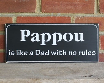 Pappou is like a Dad Wood Sign Greek Grandfather Saying Wall Decor Father's Day Plaque