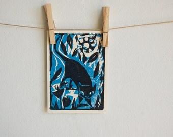 Black Cat Block Print