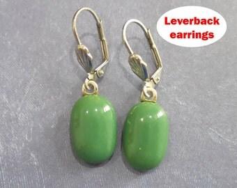 Green Earrings, Forest Green Leverback Earrings, Dangle Green Earrings, Fused Glass Jewelry - Adele- -5