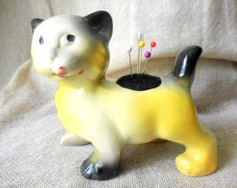 Vintage Black, Yellow, and White Kitty Cat Planter Standing remade into Pin Cushion