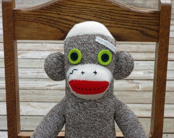 Sock Monkey Doll - Handmade Original One of a Kind Rockford Red Heel Sock Monkey