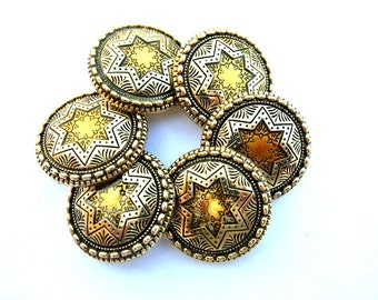 6 Vintage plastic buttons star ornament gold color with black 28mm