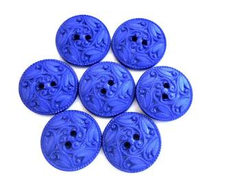 6 Buttons, antique vintage, plastic, unique blue 25mm
