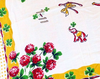 Vintage cotton table cloth floral horseshoe  elephant mid century floor pillow cover home decor throw
