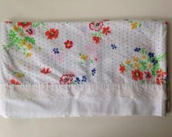 vintage floral blue polka dot lace  pink FULL flat sheet