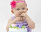 Baby Girl Lace Romper - Lavender Romper and Headband Outfit - Cake Smash Photo Prop