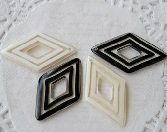 4 x Vintage Retro Diamonds Black White and Clear