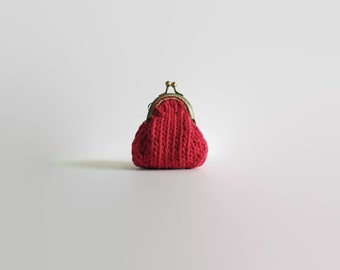 Cerise Red Cotton Knit, Clasp Coin Purse, Money Holder, Small, Change, Fashion Accessories, Kiss Lock, Hand Knit, Tiny Pouch, Metal Frame