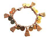 Copper Charm Bracelet Striped Cats and Bangles