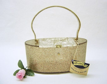 Lucite Bag Purse Handbag VIntage 1950's  PATRICIA of MIAMI in Confetti Gold NOS Never Carried  Original Hang Tag & Label