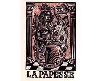 Occult Art, Tarot Art Print, Tarot Card Art, High Priestess Tarot Linocut Art Print, wall decor, Queen, Pomegranates, Linocut Tarot Art