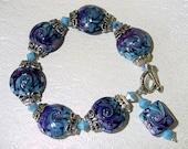 Purple, Turquoise Delight Lampwork Bracelet SRAJD Reserved for Lisa Caron