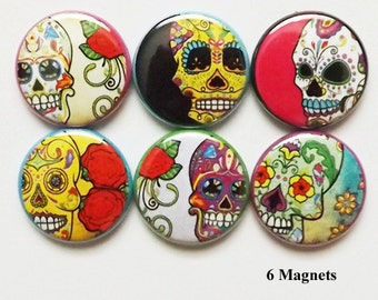 Fridge Magnet Set Dia De Los Muertos Day of the Dead Sugar Skulls halloween skeleton calavera wedding shower bridal party favor refrigerator
