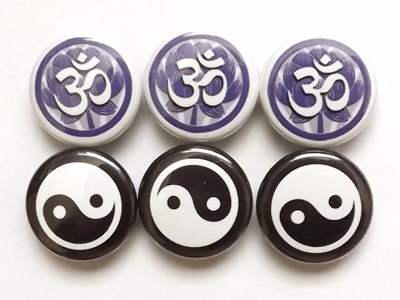 Om Yin Yang PINBACK BUTTONS badges pins lotus party favors stocking stuffers shower gifts balance zen asian magnets coaster buddhist yoga
