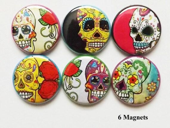 Fridge Magnets Dia De Los Muertos Day of the Dead Sugar Skulls skull halloween skeleton calavera wedding party favors stocking stuffers gift
