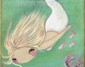 Mermaid Art Fish Girl Nautical Wall Print---The White Mermaid 5 x 7