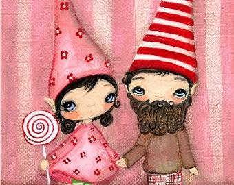 Gnome Print Candy Couple Art Wall Decor Lollipop Love Gnomes