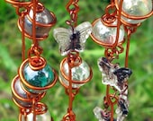 Suncatcher with Iridescent Amethyst, Teal and Clear Copper Wrapped Glass Marbles & Clear Glass Butterflies with Deep Purple Swirls