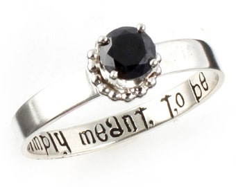 Nightmare Before Christmas Ring - Simply Meant to Be - Nerdy Engagement Ring - Promise Ring in Sterling Silver or White Gold