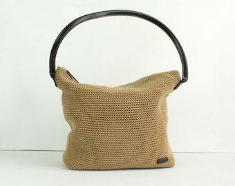 90s Vintage The Sak Crochet Hobo Purse / Tote / Handbag