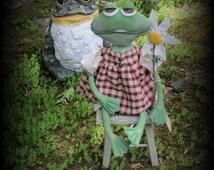 Primitive doll, Summer doll, Folk Art, FROG doll, garden, TOAD doll, Handmade  Doll, folk art frog,frog,doll, summer decor, garden doll,