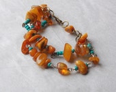 Raw Amber and Turquoise Bracelet, Jewelry, Baltic Amber, Earthy, Rustic Style, Gift for Her