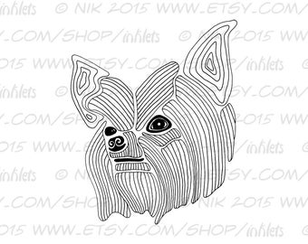 Yorkie Coloring Page Etsy Yorkie Coloring Pages