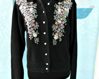 Beaded Cardigan Sweater, Vintage