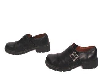 size 10 HARLEY DAVIDSON black leather 80s 90s PLATFORM buckle ankle boots