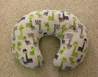 Giraffe minky backed EMIJANE Nursing pillow cover - fits Boppy