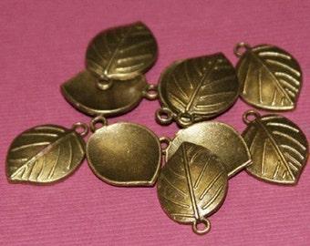 10 pcs of Antiqued Brass Leaf drops 13.5X19mm