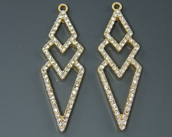 Gold Geometric Earring Findings Triple Diamond Rhombus Clear Rhinestone Long Dangle Earring Components |G21-1|2