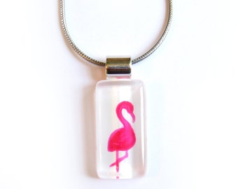 Pink flamingo necklace | on stainless steel chain | handpainted glass by azurine