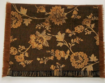 Table Runner Brown Gold Floral Pattern