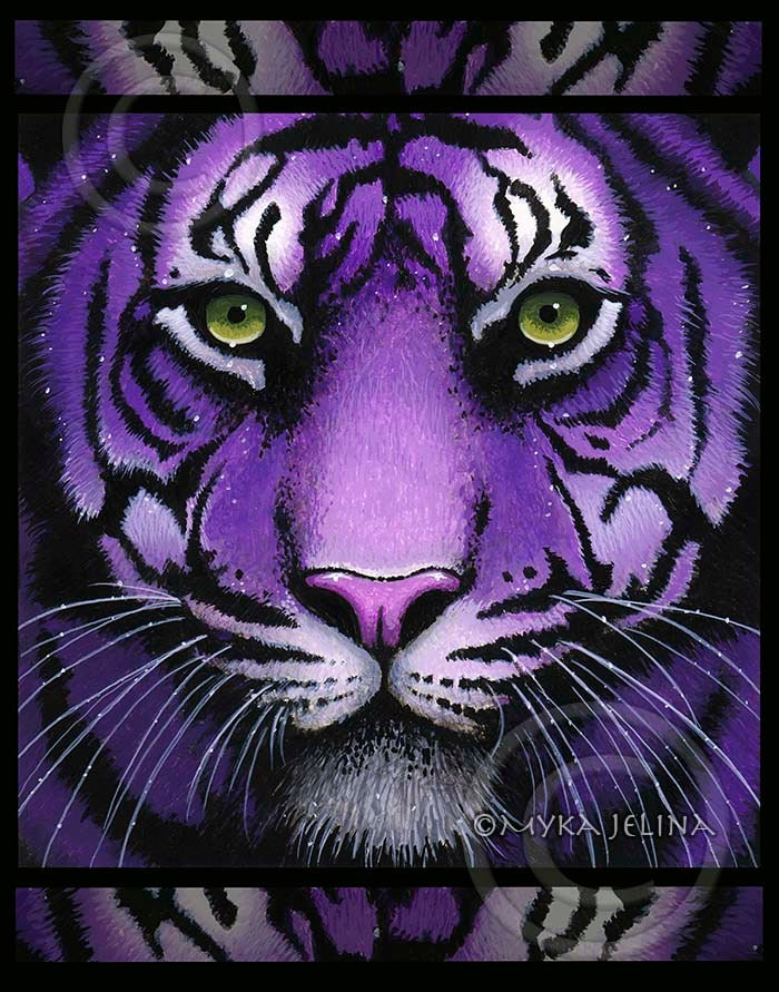 Purple Tiger Stargazer Nail Art Designs By Top Nails: Fiala Purple Tiger Big Cat Green Eyes Signed BIG Prints