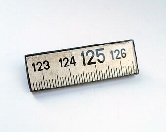 Silver Metric Ruler Brooch