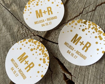 Gold Foil Confetti Dot Wedding Stickers - Rose Gold Polka Dot Seals - Gold Initials Candy Favor Labels - Silver Foil Goody Bag Labels