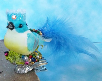 One of a Kind Heirloom Vintage Style Blue Art Bird with a Crown and Swarovski Crystal Sequins Metalic Beads Glitter Christmas Ornament Clip