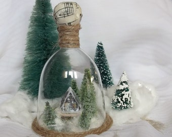 Vintage Putz Style English Cottage House in Woodland Winter Snow Globe Table Top Terrarium Fairy Garden Christmas Scene Ornament