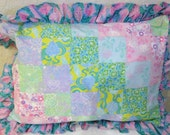 Patchwork Pillow Sham Shabby Chic Ruffle Pink Yellow Green Turquiose Lav ender Standard Pillow size  gift