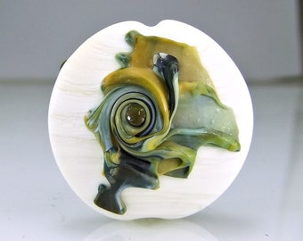 Etched Ivory and Green Lampwork  Focal Bead