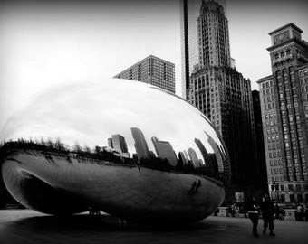 Chicago Bean - Polish (Cloud Gate black and white photography print, urban landmark modern architecture silver liquid mercury art sculpture)