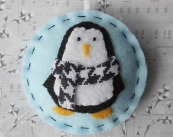 Felt Penguin Christmas Ornament - Cozy Winter Penguin No. 11 - SALE