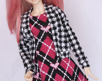 MSD BJD clothes Black Houndstooth print cardigan sweater MonstroDesigns