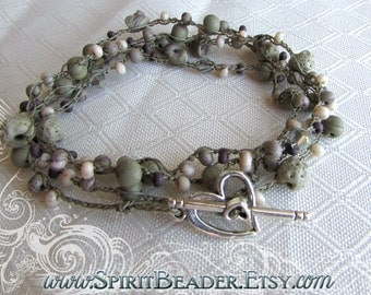 Sea Pebbles Crystal Crochet Seashell Beads Necklace or Wrap Bracelet Toggle Clasp