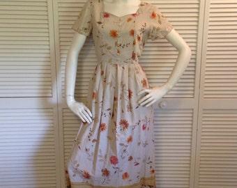 Vintage 1990's Floral Print Tie Waist Button Front Khaki Artist Dress