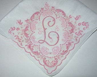 Vintage White Hanky with a Pink Initial L - Handkerchief Hankie